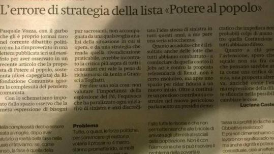 In risposta a Luciana Castellina e il suo articolo L'errore di strategia della lista - Potere al Popolo