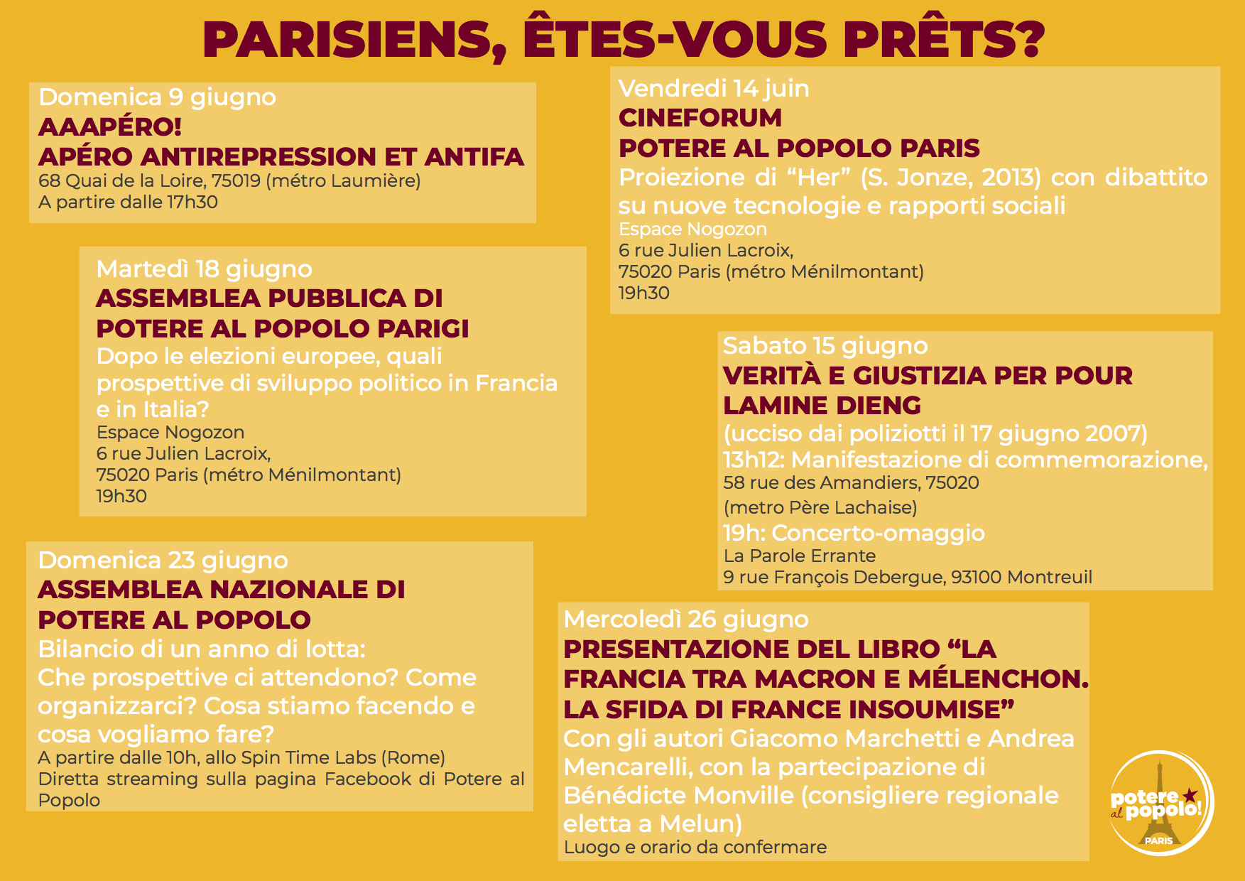 Calendario Mese Giugno.Pap Parigi Il Calendario Delle Iniziative Del Mese Di